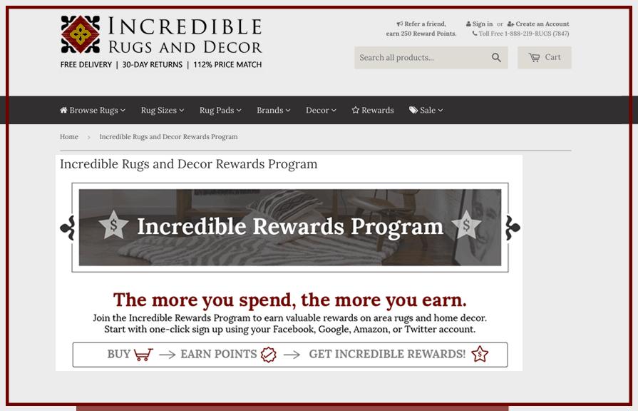 Incredible Rugs and Decor Loyalty Rewards Program_Zinrelo