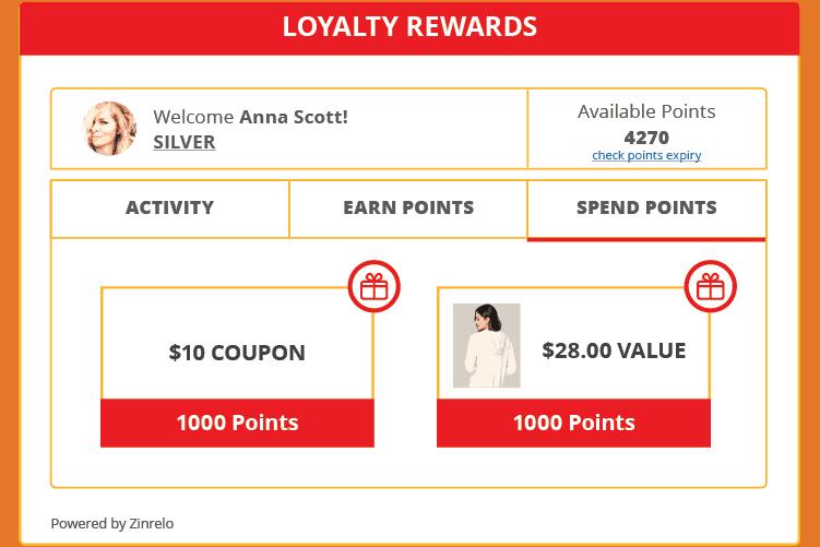 Redemption Options - Zinrelo Customer Loyalty Program