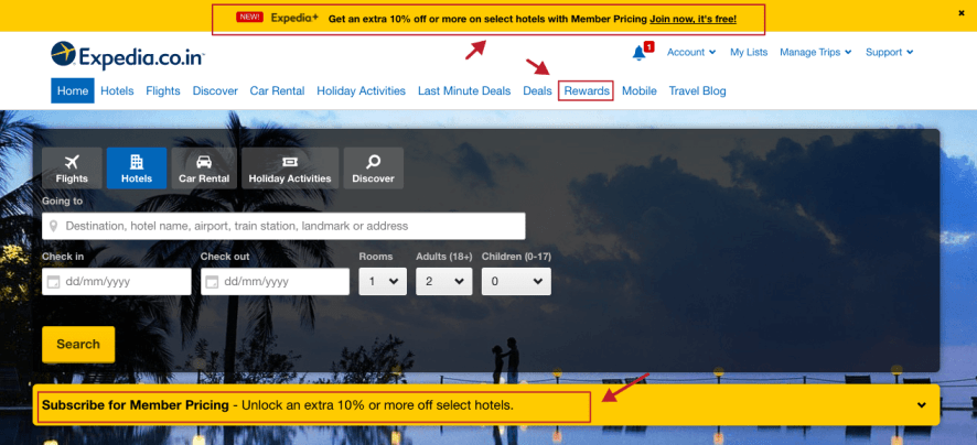 Expedia Loyalty Program Promotion on the Website_New